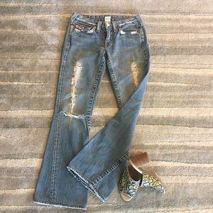 True Religion Destroyed Big Rig Flare Jeans